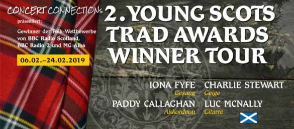 Die Young Scots Trad Awards Winner Tour bringt auch im Jahr 2019 tolle Musiker aus Schottland nach Deutschland