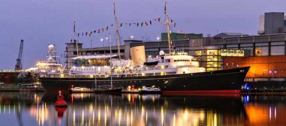 Die Royal Yacht Britannia im Hafen von Leith ist neben einer Besucherattraktion auch ein 5-Sterne Veranstaltungsort